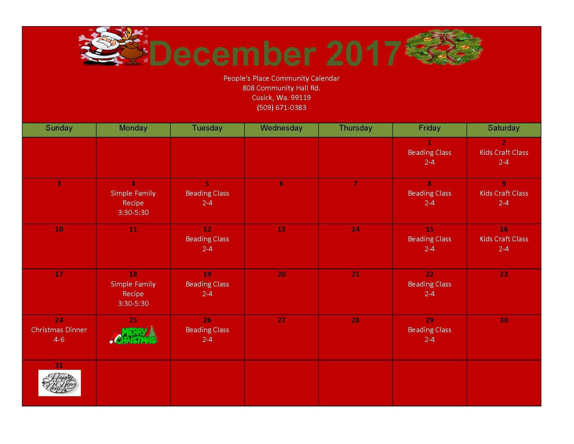 December 2017 Community Calendar Peoples Place